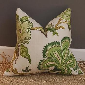 Hot House Flowers linen pillow 22 sq / Celerie by woodyliana