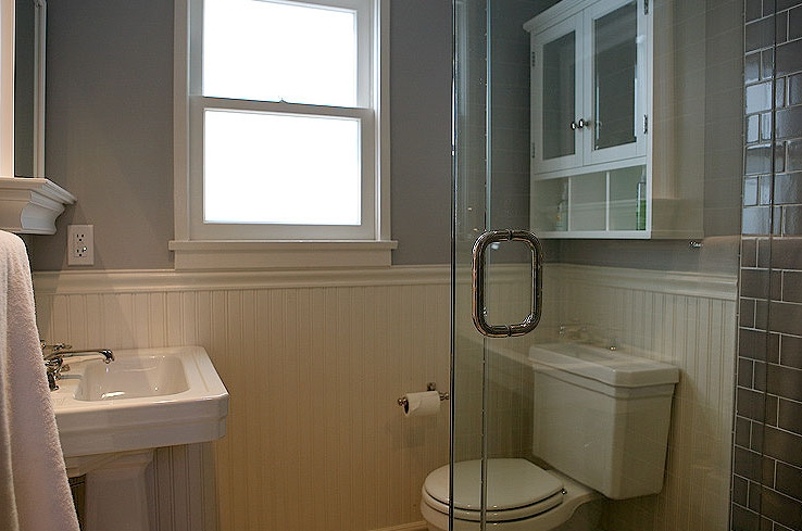 gray bathroom design with soft gray walls paint color beadboard