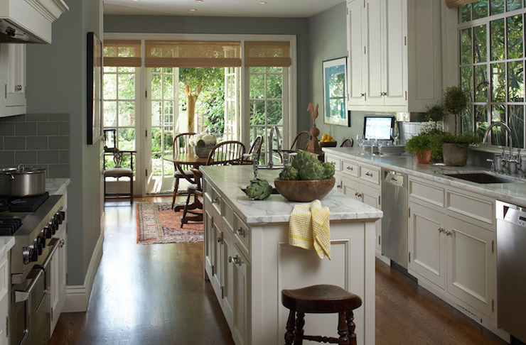 Kitchen french doors transitional kitchen White cabinets grey walls