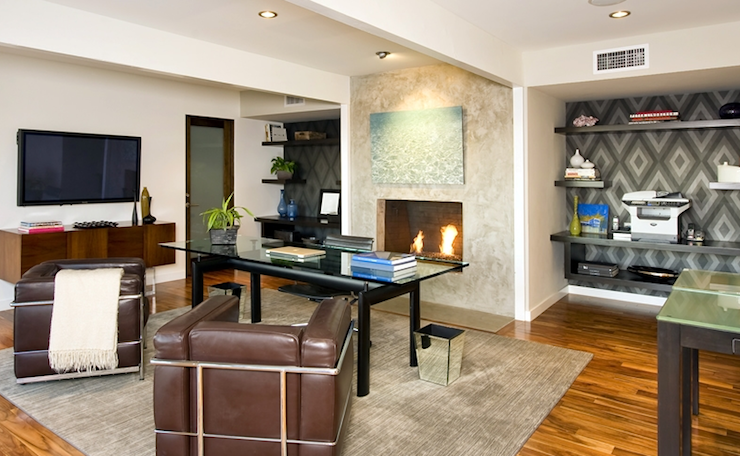 office with fireplace - Jeff Lewis Design Wallpaper