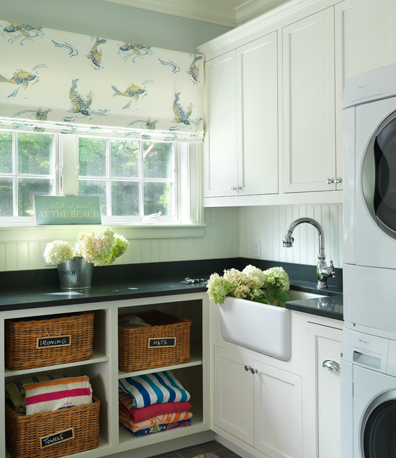 Laundry room ideas cottage laundry room urban grace for Farmhouse sink for laundry room