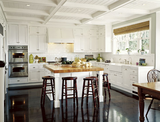 Kitchen coffered ceiling transitional kitchen for Farmhouse kitchen floor tiles