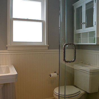White Beadboard Backspalsh, Transitional, bathroom, Jeff Lewis Design