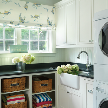 Beadboard Backsplash, Cottage, laundry room, Ken Gemes Interiors