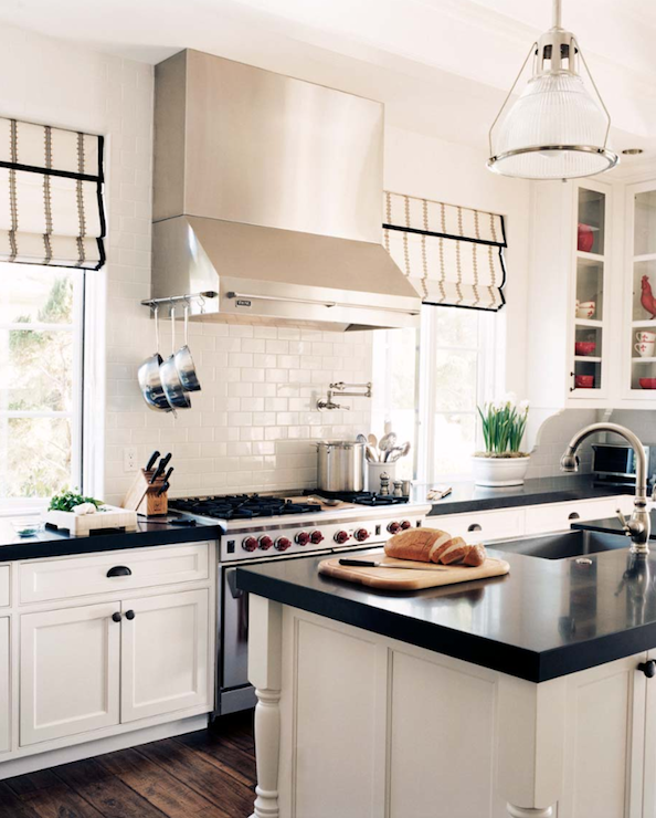 White Kitchen Cabinets With Black Countertops Black And White Roman Shades  Transitional  Kitchen  Decesare .