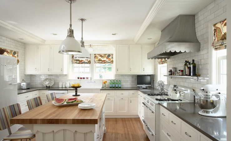 White Kitchen Island With Butcher Block Top island with butcher block top - transitional - kitchen - giannetti