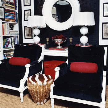Navy Blue Chairs, Contemporary, den/library/office
