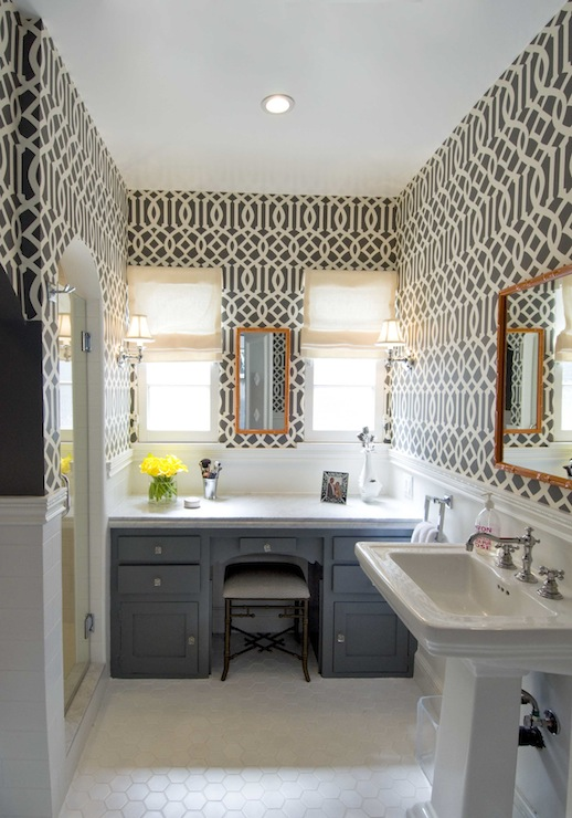 Imperial Trellis Wallpaper Contemporary Bathroom
