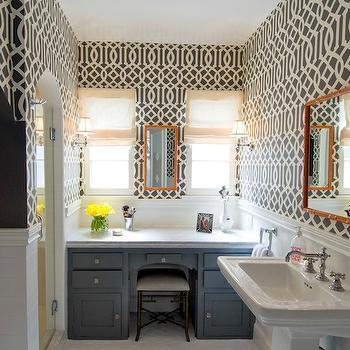 Imperial Trellis Wallpaper, Contemporary, bathroom, Amie Sherry Designs