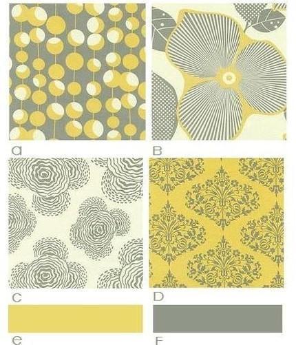 Yellow Gray Fabric Swatches