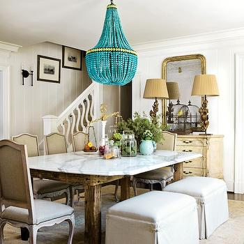 Turquoise Beaded Chandelier, Transitional, dining room, Meg Adams Interior Design