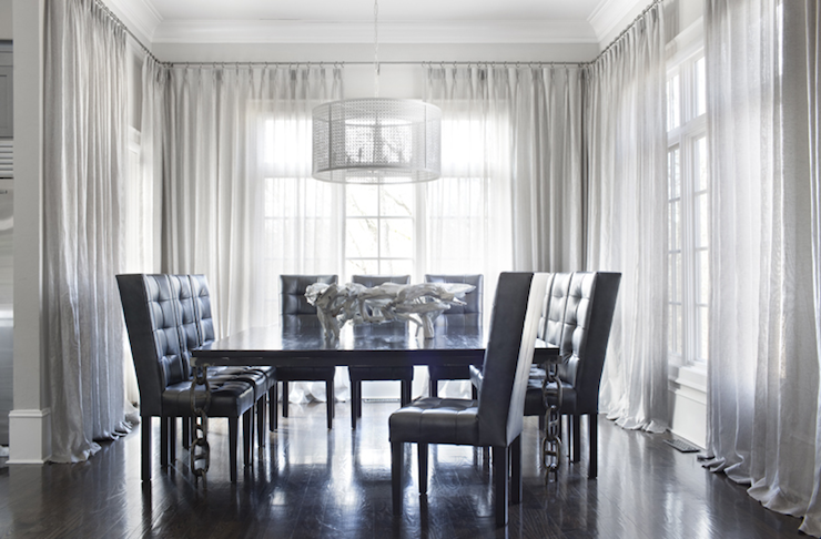 Gray Dining Table With White Wingback Chairs