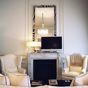 Zebra Mirror, Contemporary, living room, J.K. Place Hotel
