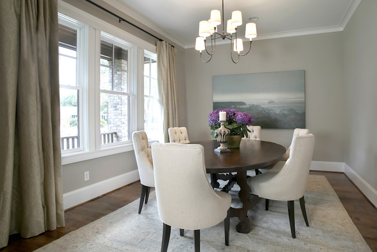 blue and taupe dining room with soothing blue paint color