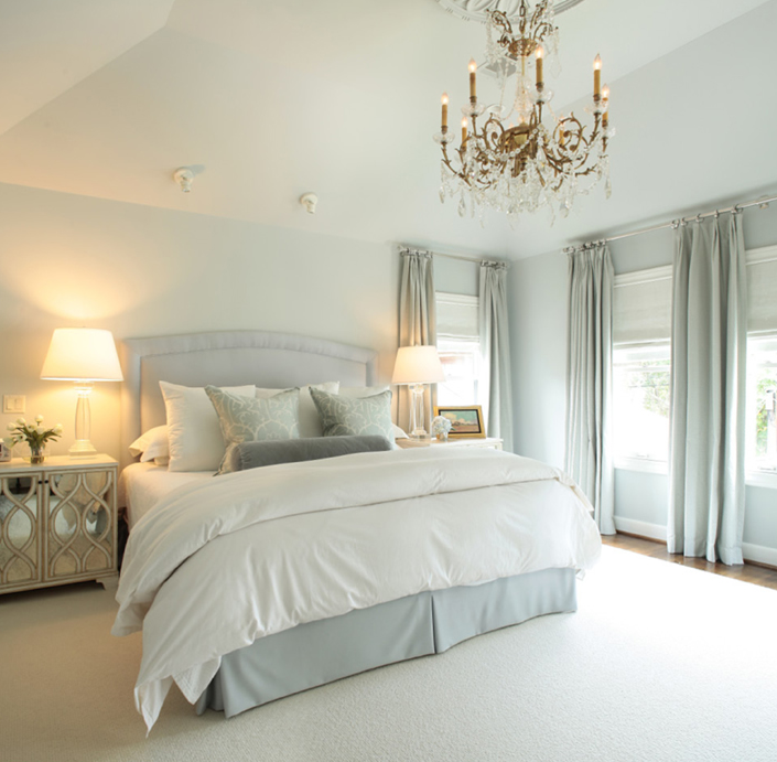 light blue bedroom. view full size Gray and Blue Master Bedroom with French Pleat Curtains
