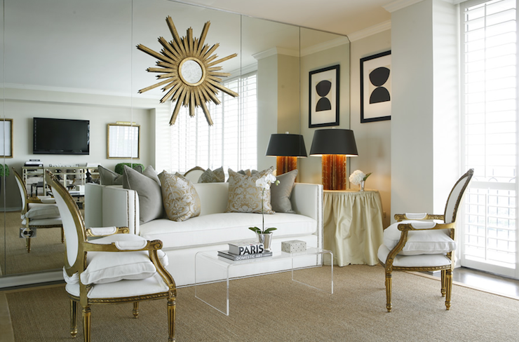 Chic Modern French Living Room Design With White Nailhead Trim Sofa, Gold  Leaf Louis Chairs, Acrylic Lucite Coffee Table, Gold Gray Silk Damask  Pillows, ...