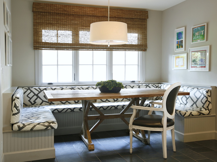 Built in banquette contemporary dining room ashley for Dining room banquette