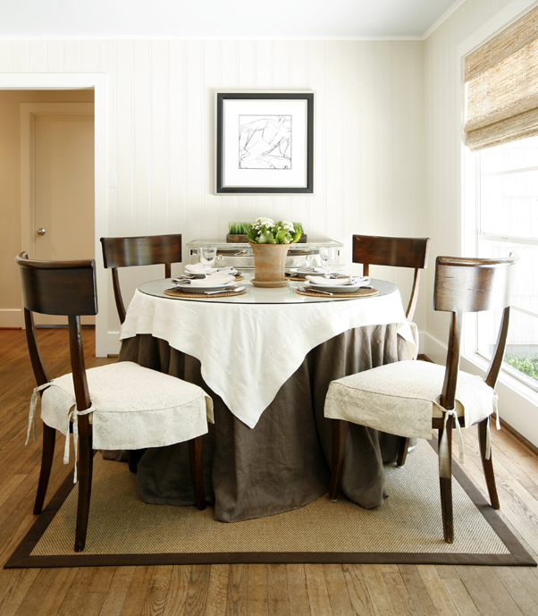 Ivory Chocolate Brown Dining Room Design With Klismos Chairs Round Table Glass Top And Rich Linen Tablecloth