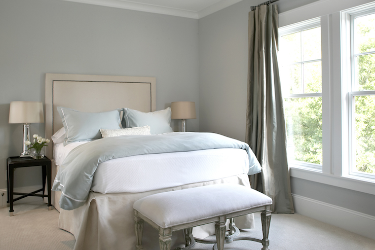 gray bedding mirrored lamps blue gray silk drapes gray walls paint