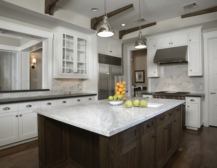White carrara marble countertop transitional kitchen - White kitchen marble ...
