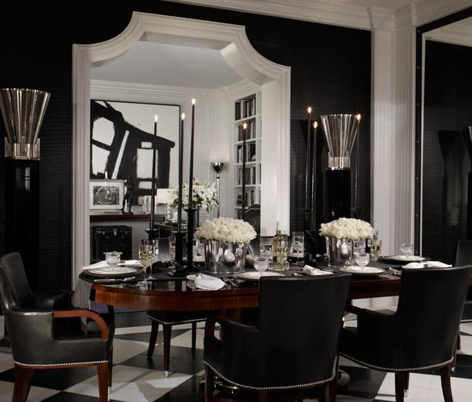 Black leather dining chairs contemporary dining room for Black dining room furniture