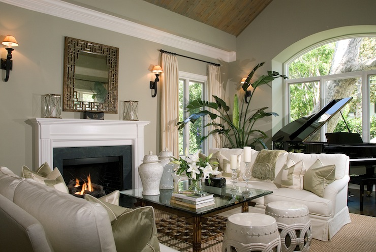 Fretwork Mirror Traditional Living Room
