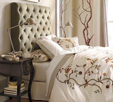 Lorraine Tufted Velvet Headboard Pottery Barn