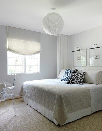 Gray roman shade transitional bedroom lindsey meadows for Modern home decor ideas