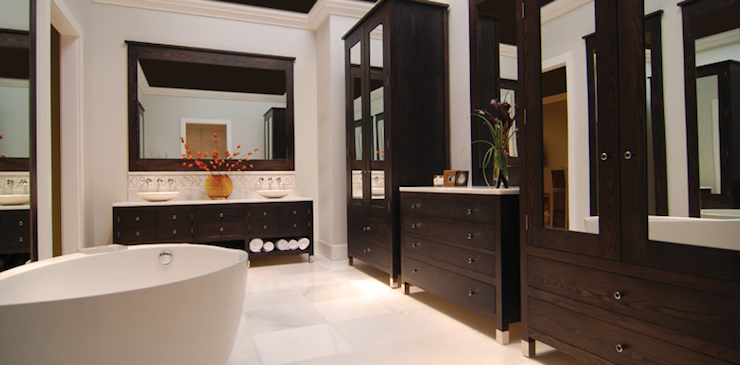 Espresso Brown Bathroom Design With Espresso Bathroom Cabinets Vanities,  Mirrored Cabinet Doors, Modern Freestanding Modern Tub, Double Sinks  Vanities, ...