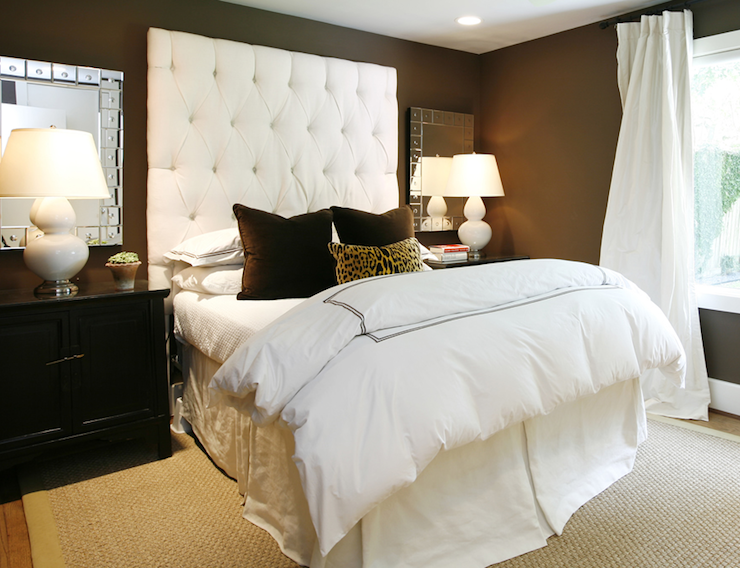 Velvet tufted headboard contemporary bedroom ashley for Black white and brown bedroom ideas