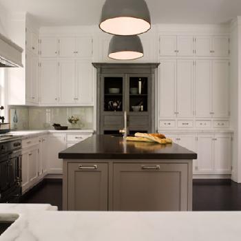 Gray Center Island, Transitional, kitchen, Samantha Lyman