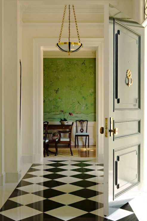 Black And White Marble Floor Traditional Entrance Foyer