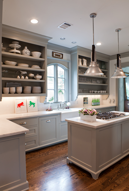 Gray Kitchen Cabinets Transitional Kitchen Benjamin Moore Fieldstone Sally Wheat Interiors