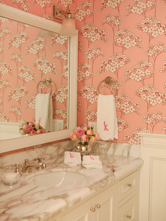 Pink bathroom wallpaper contemporary bathroom amanda for Bathroom wallpaper