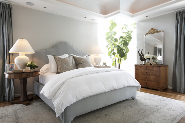 Gray Velvet Headboard - Transitional - bedroom - Ashley ...