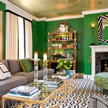 Emerald green walls design ideas - Grey and emerald green living room ...