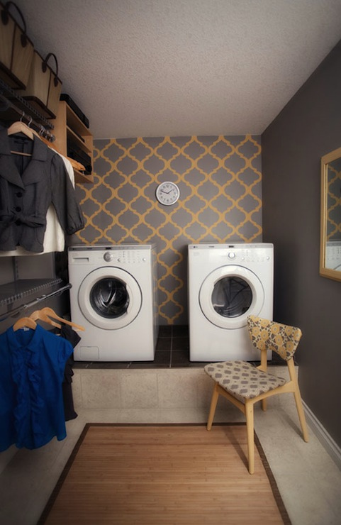 Yellow And Gray Room Transitional Laundry Room