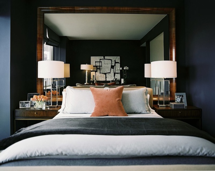 Mirror as headboard transitional bedroom ron marvin for Masculine headboards