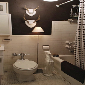 View Full Size. White U0026 Espresso Brown Bacheloru0027s Bathroom Design With  White And Chocolate ...