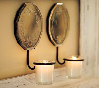 Etched Mirror Wall-Mount Votive Holder - Pottery Barn