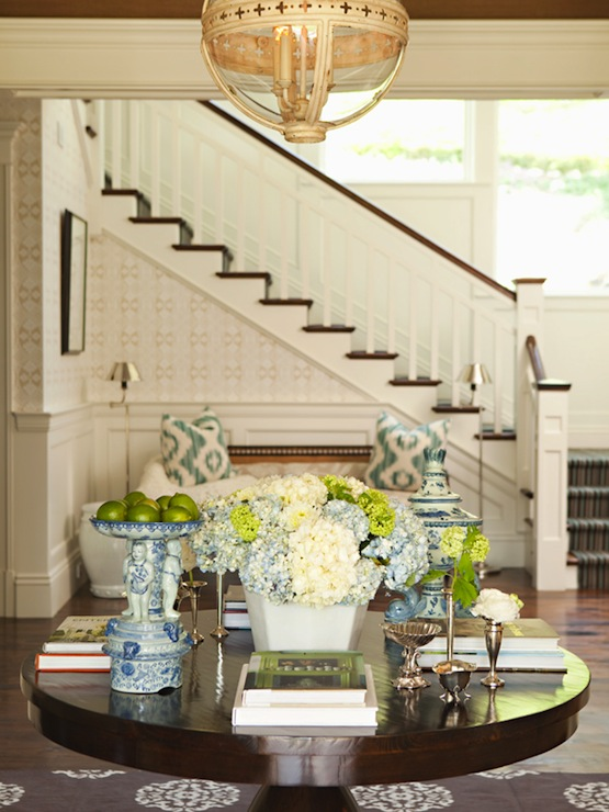 Round foyer table transitional entrance foyer for Elegant foyer decor
