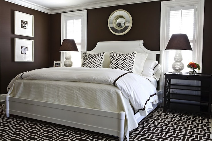Brown Walls Transitional bedroom Benjamin Moore Chocolate