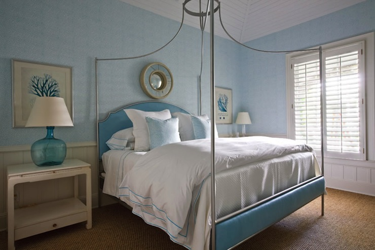 Turquoise headboard traditional bedroom phoebe howard for Turquoise wallpaper for bedroom