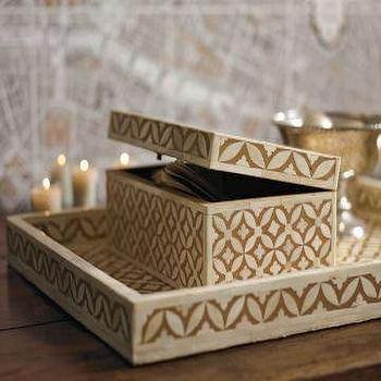 Williams-Sonoma Home, Tiled Bone Box, Neutral