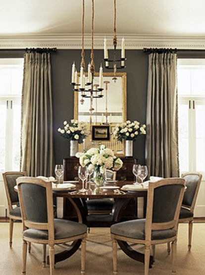 Gray Walls Paint Color Silk Drapes Gilt Mirror Vintage Buffet Round Dining Table Velvet Chairs And Chandelier