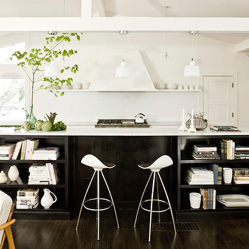 Kitchen Island Bookshelve s- Contemporary, kitchen, Jessica Helgerson Interior Design