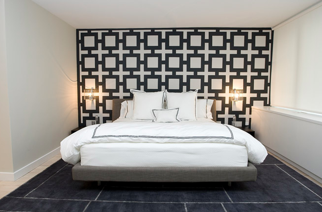 Chain Link Wallpaper - Contemporary - bedroom - Haus Interior
