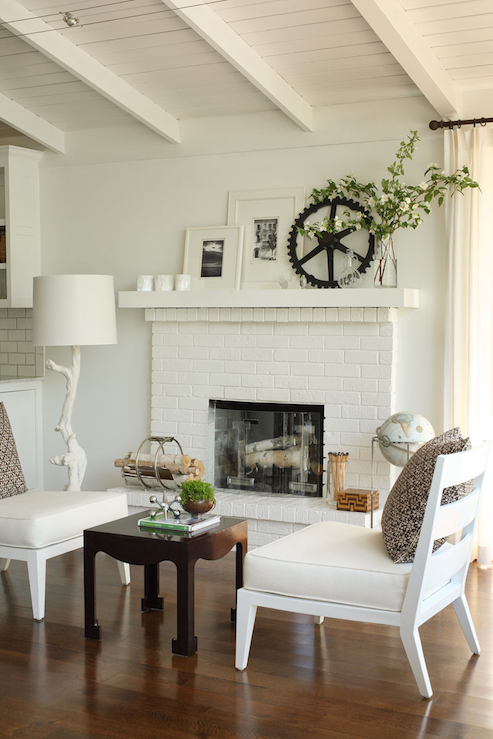 White Brick Fireplace View Full Size Small Living Room