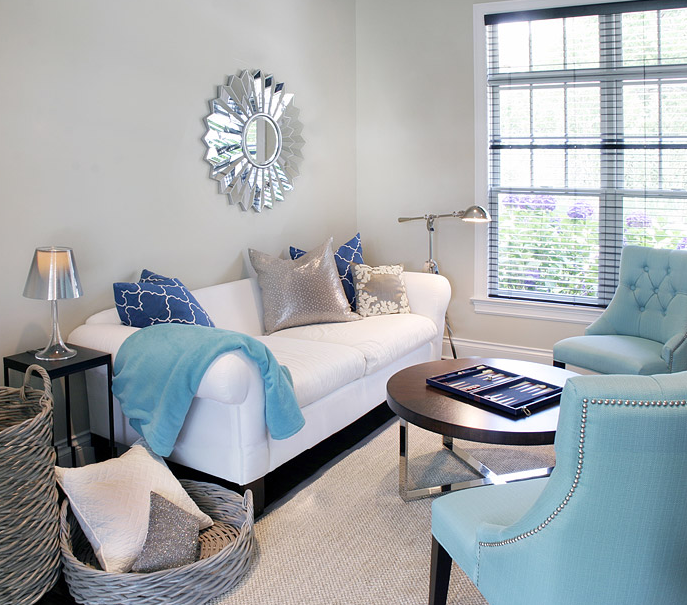 Deep Turquoise and Gray Contemporary Living Rooms ideas ...