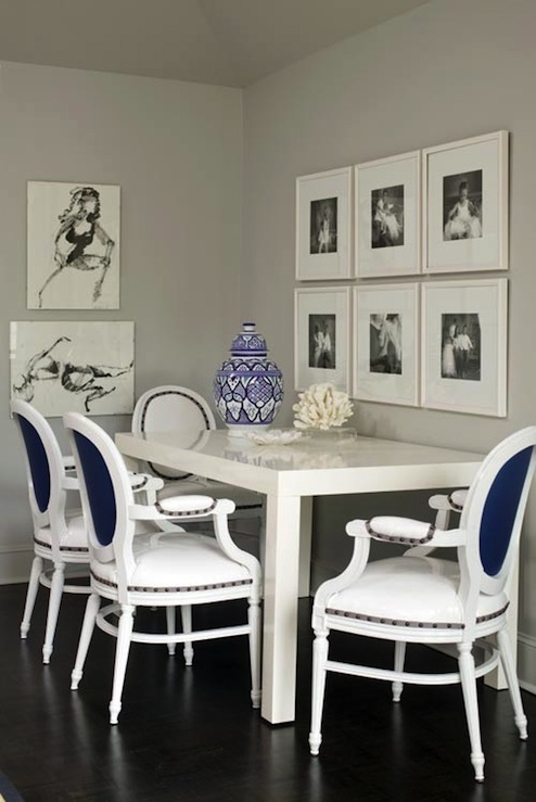 View Full Size Gray Blue Chic Dining Room Design With Glossy White Lacquer Table